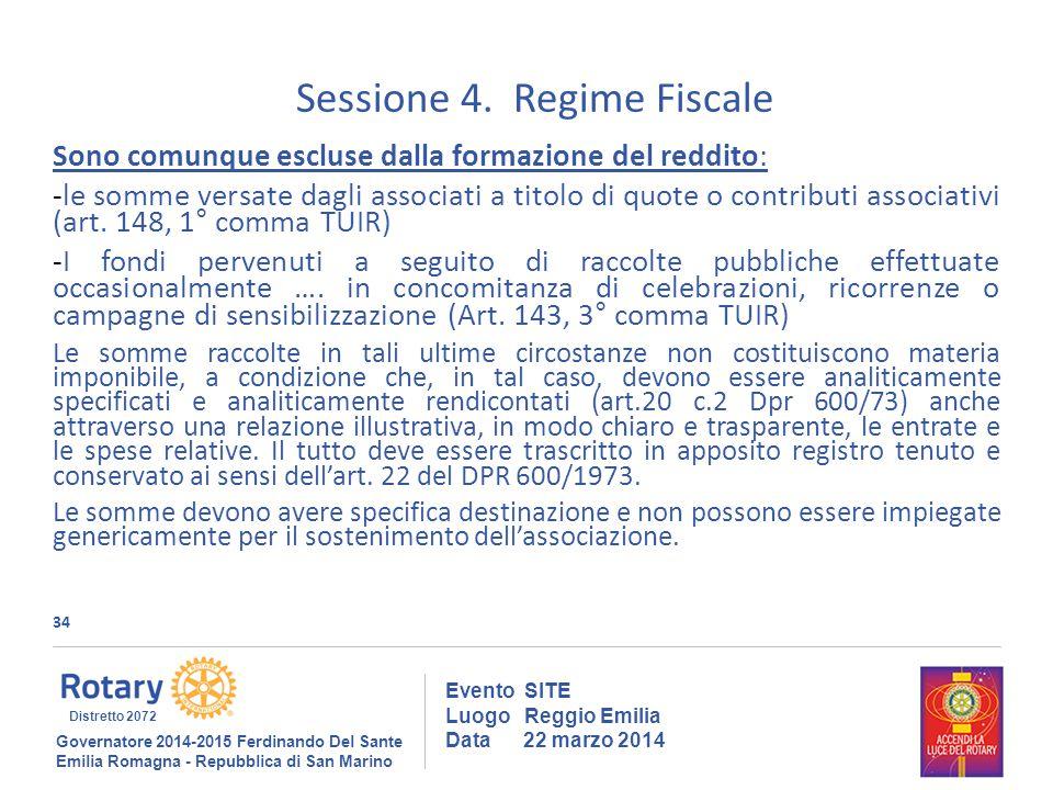 34 Evento SITE Luogo Reggio Emilia Data 22 marzo 2014 Sessione 4.