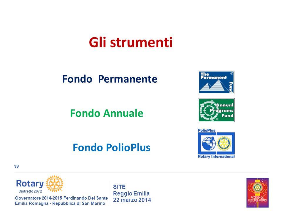 39 SITE Reggio Emilia 22 marzo 2014 Gli strumenti Fondo Permanente Fondo Annuale Fondo PolioPlus Governatore 2014-2015 Ferdinando Del Sante Emilia Romagna - Repubblica di San Marino Distretto 2072