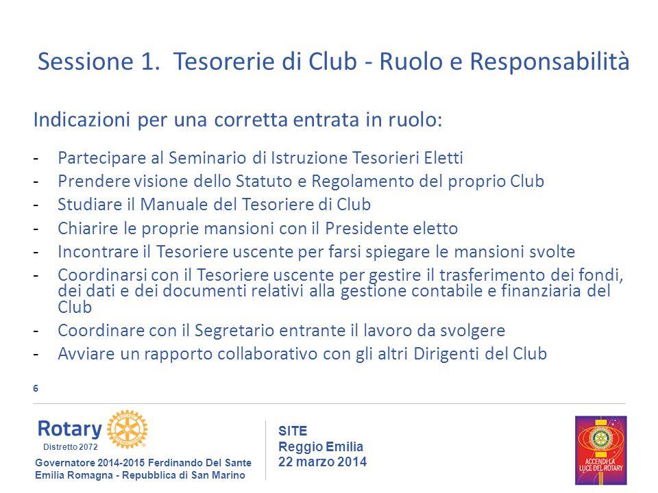 6 SITE Reggio Emilia 22 marzo 2014 Sessione 1.