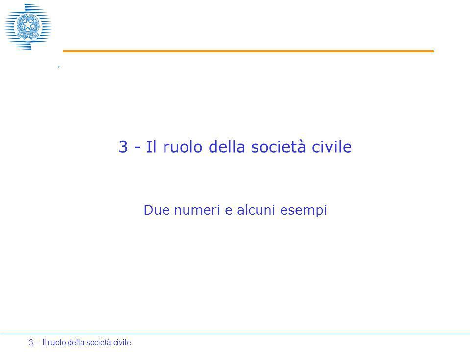 3 - Il ruolo della società civile Due numeri e alcuni esempi 3 – Il ruolo della società civile