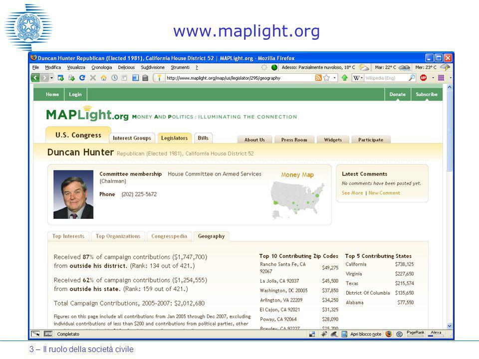 www.maplight.org 3 – Il ruolo della società civile