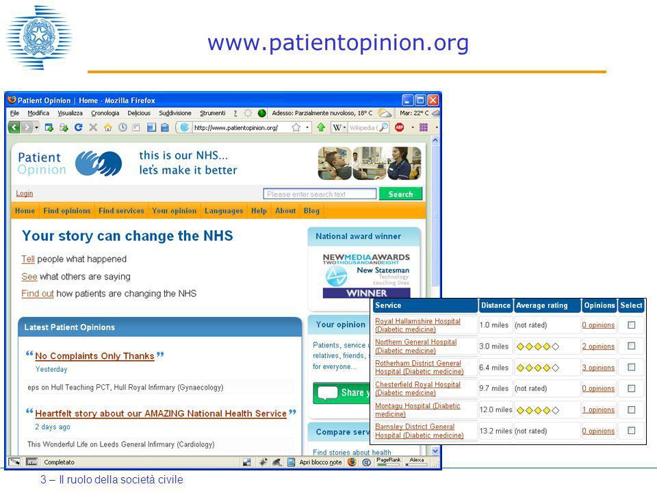 www.patientopinion.org 3 – Il ruolo della società civile