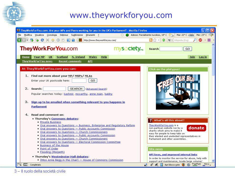 www.theyworkforyou.com 3 – Il ruolo della società civile