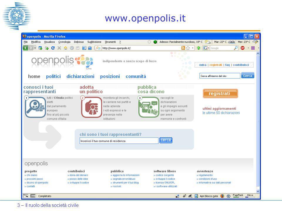 www.openpolis.it 3 – Il ruolo della società civile