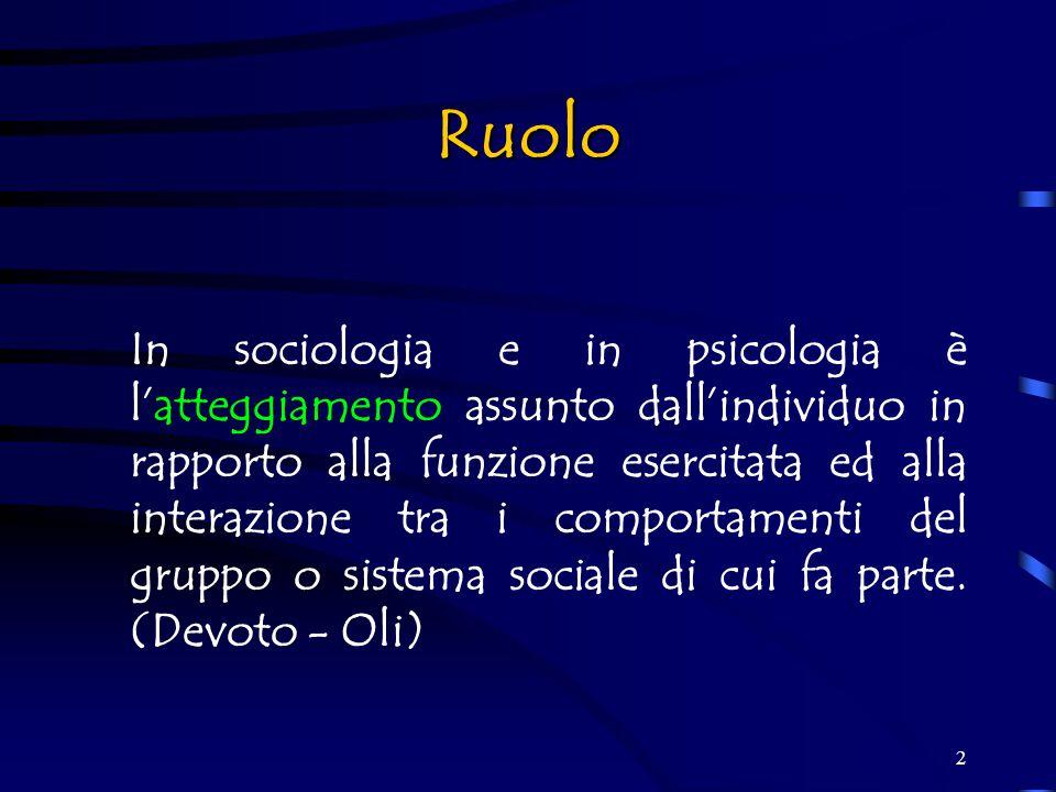2 Ruolo In sociologia e in psicologia è l'atteggiamento assunto dall'individuo in rapporto alla funzione esercitata ed alla interazione tra i comportamenti del gruppo o sistema sociale di cui fa parte.