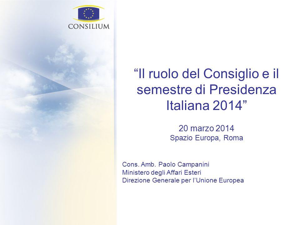 Il ruolo del Consiglio e il semestre di Presidenza Italiana 2014 20 marzo 2014 Spazio Europa, Roma Cons.