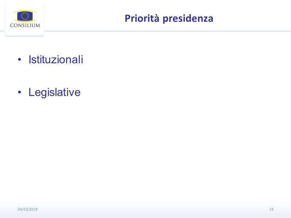 Priorità presidenza Istituzionali Legislative 29/03/2015 18