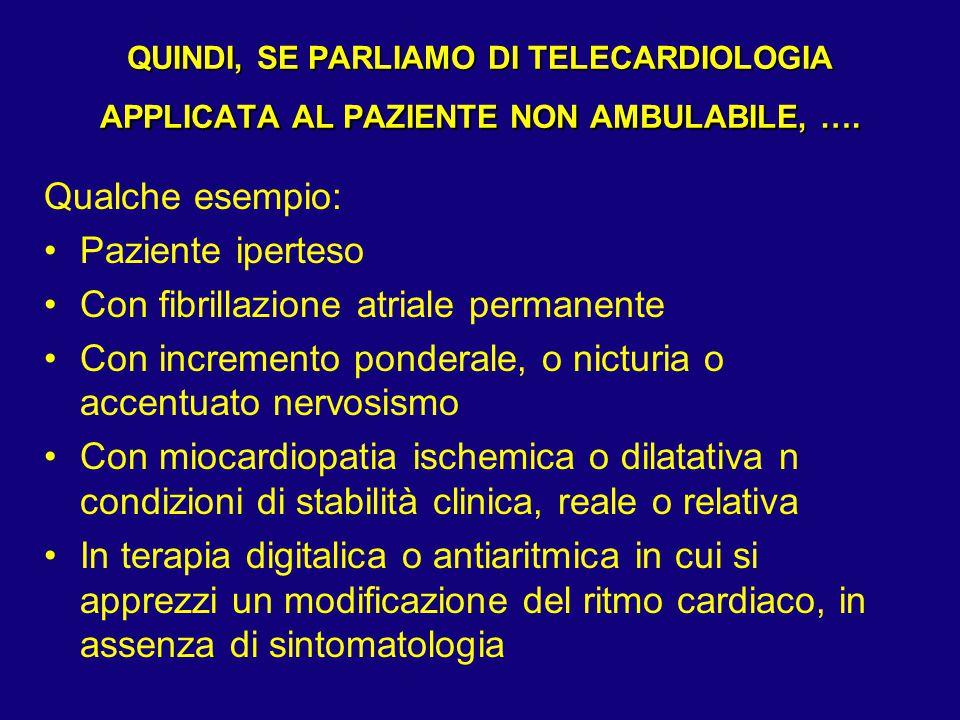 QUINDI, SE PARLIAMO DI TELECARDIOLOGIA APPLICATA AL PAZIENTE NON AMBULABILE, …. Qualche esempio: Paziente iperteso Con fibrillazione atriale permanent