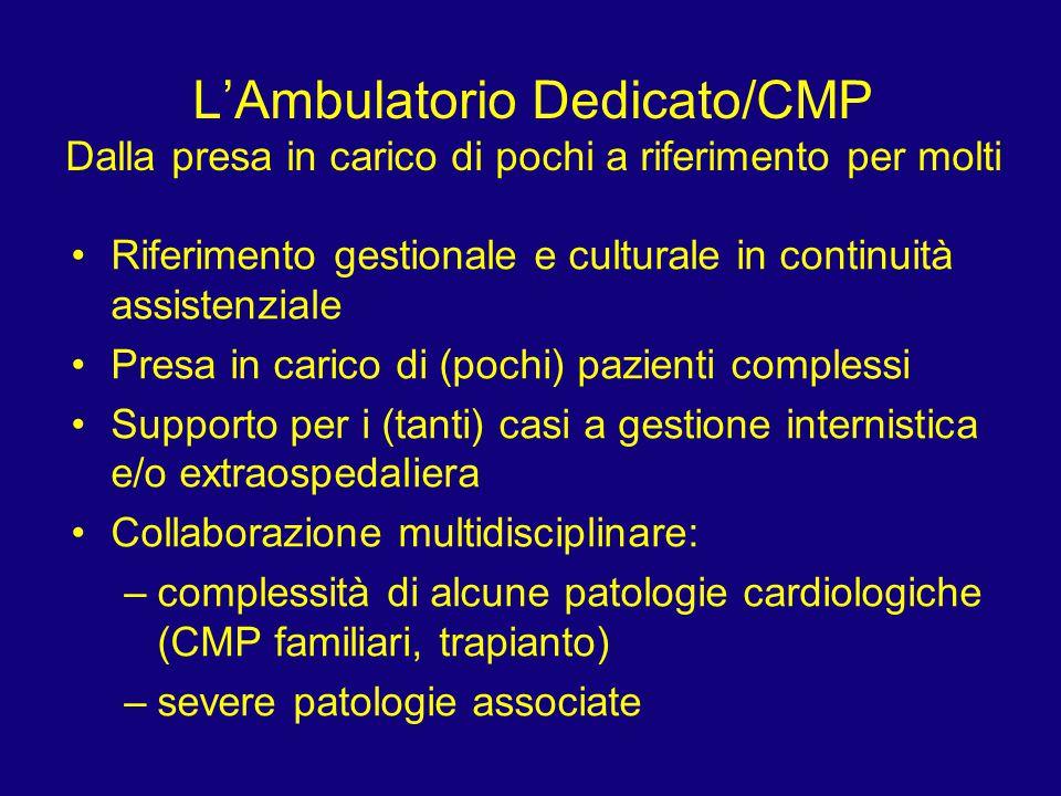 L'Ambulatorio Dedicato/CMP Dalla presa in carico di pochi a riferimento per molti Riferimento gestionale e culturale in continuità assistenziale Presa
