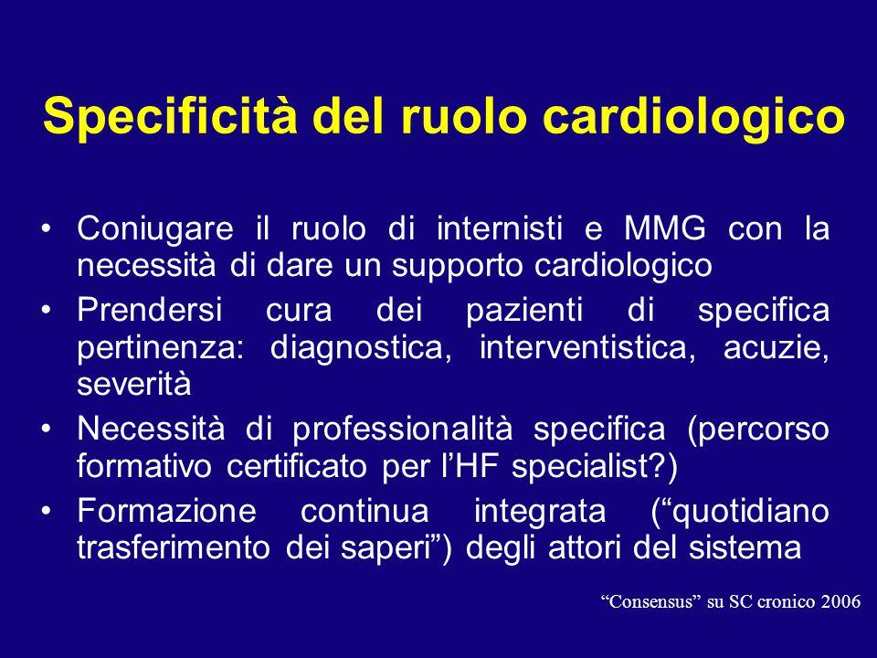 Specificità del ruolo cardiologico Coniugare il ruolo di internisti e MMG con la necessità di dare un supporto cardiologico Prendersi cura dei pazient