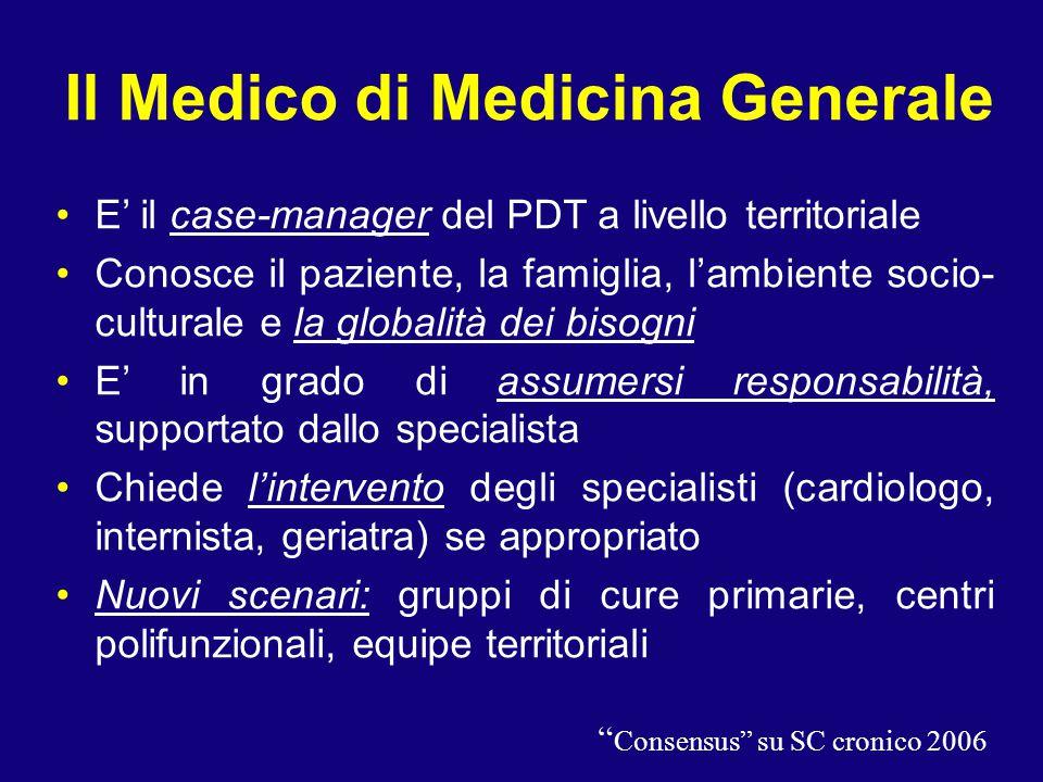 Il Medico di Medicina Generale E' il case-manager del PDT a livello territoriale Conosce il paziente, la famiglia, l'ambiente socio- culturale e la gl