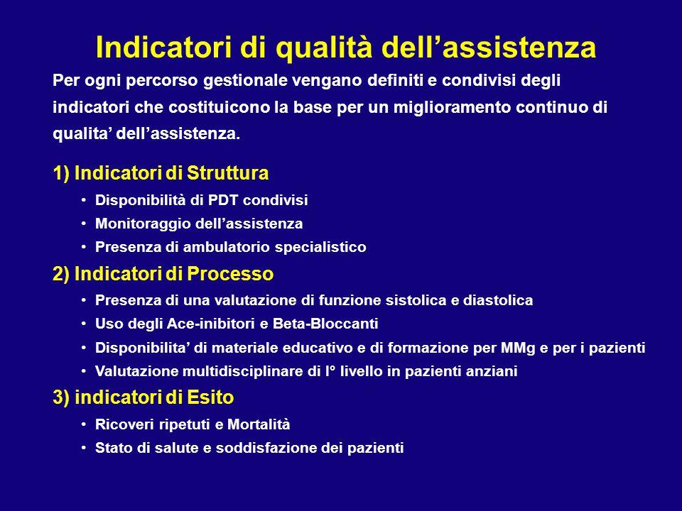 Indicatori di qualità dell'assistenza Per ogni percorso gestionale vengano definiti e condivisi degli indicatori che costituicono la base per un migli