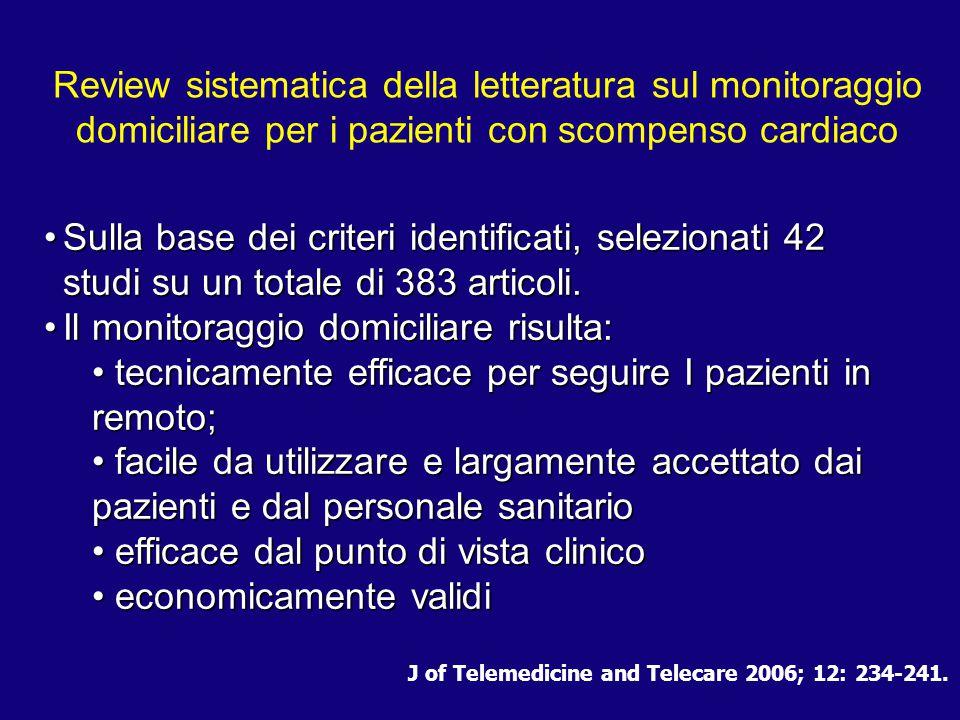 J of Telemedicine and Telecare 2006; 12: 234-241. Review sistematica della letteratura sul monitoraggio domiciliare per i pazienti con scompenso cardi