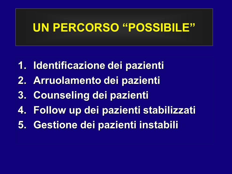 """UN PERCORSO """"POSSIBILE"""" 1.Identificazione dei pazienti 2.Arruolamento dei pazienti 3.Counseling dei pazienti 4.Follow up dei pazienti stabilizzati 5.G"""