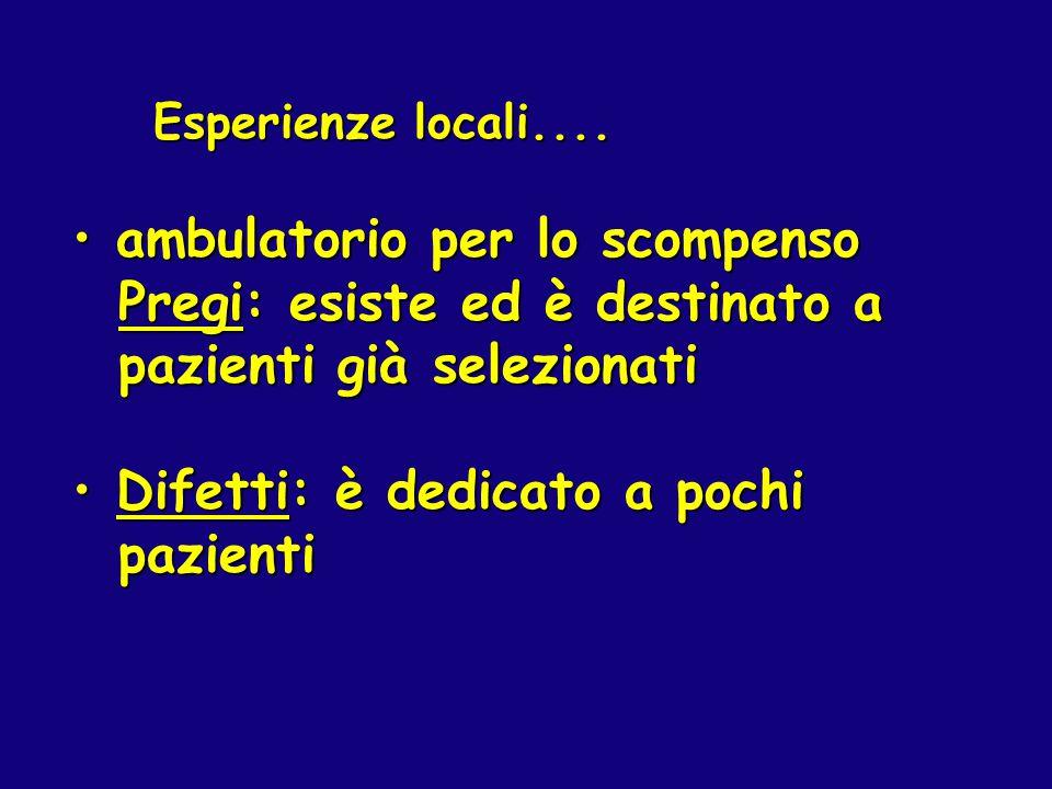 Esperienze locali.... Esperienze locali.... ambulatorio per lo scompenso ambulatorio per lo scompenso Pregi: esiste ed è destinato a Pregi: esiste ed