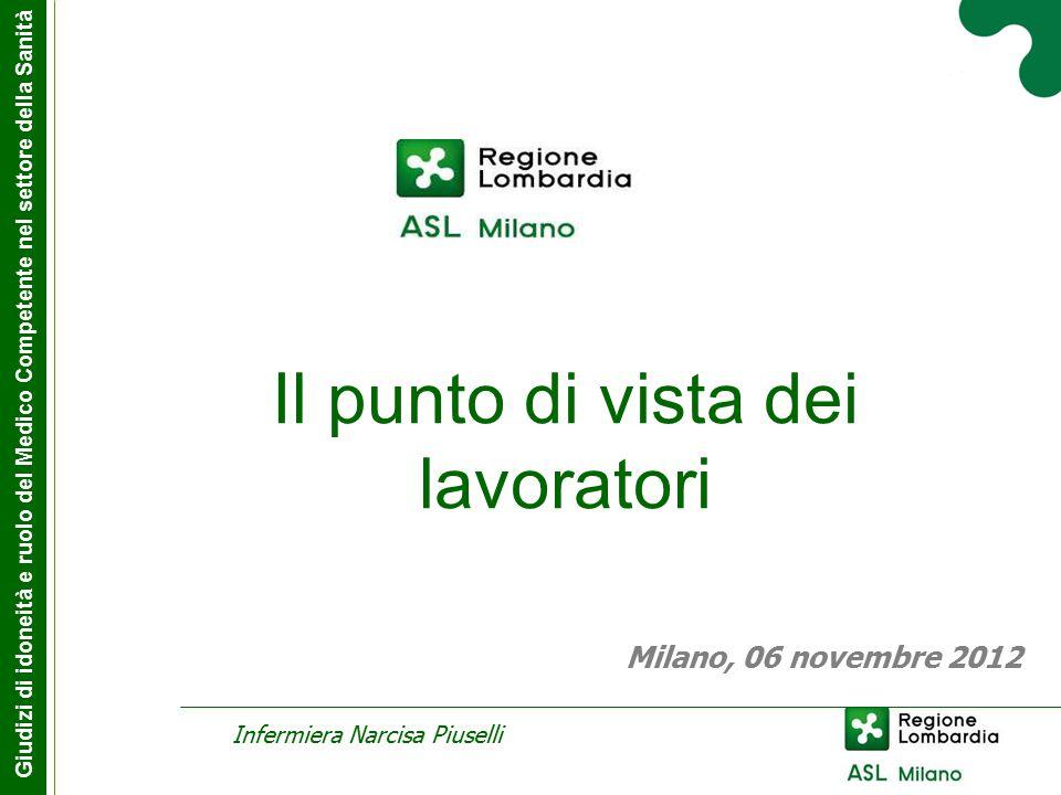 Il punto di vista dei lavoratori Infermiera Narcisa Piuselli Giudizi di idoneità e ruolo del Medico Competente nel settore della Sanità Milano, 06 novembre 2012