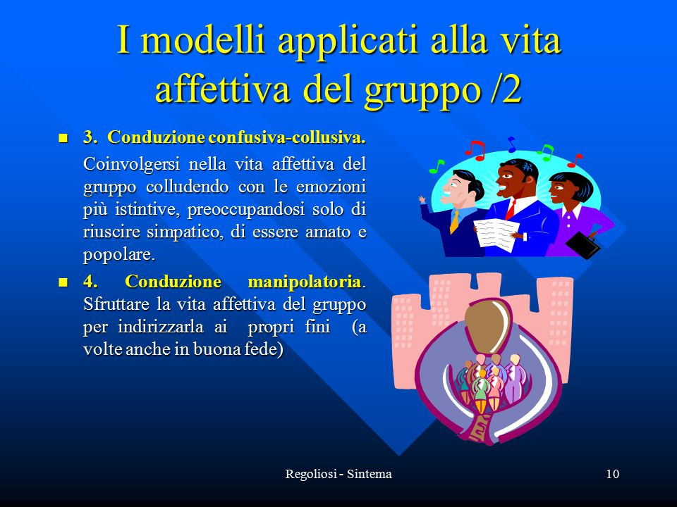 Regoliosi - Sintema10 I modelli applicati alla vita affettiva del gruppo /2 3. Conduzione confusiva-collusiva. 3. Conduzione confusiva-collusiva. Coin