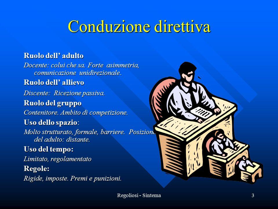 Regoliosi - Sintema3 Conduzione direttiva Ruolo dell' adulto Docente: colui che sa. Forte asimmetria, comunicazione unidirezionale. Ruolo dell' alliev