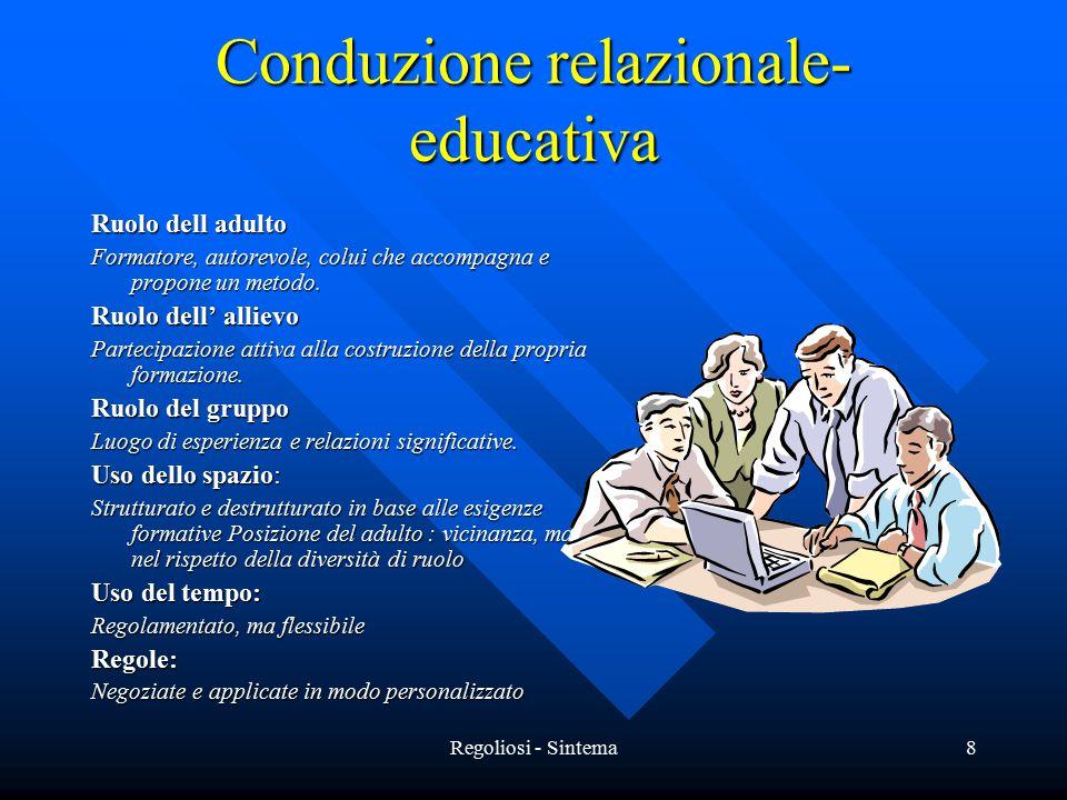Regoliosi - Sintema8 Conduzione relazionale- educativa Ruolo dell adulto Formatore, autorevole, colui che accompagna e propone un metodo. Ruolo dell'