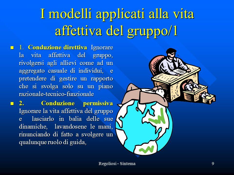 Regoliosi - Sintema9 I modelli applicati alla vita affettiva del gruppo/1 1. Conduzione direttiva Ignorare la vita affettiva del gruppo, rivolgersi ag