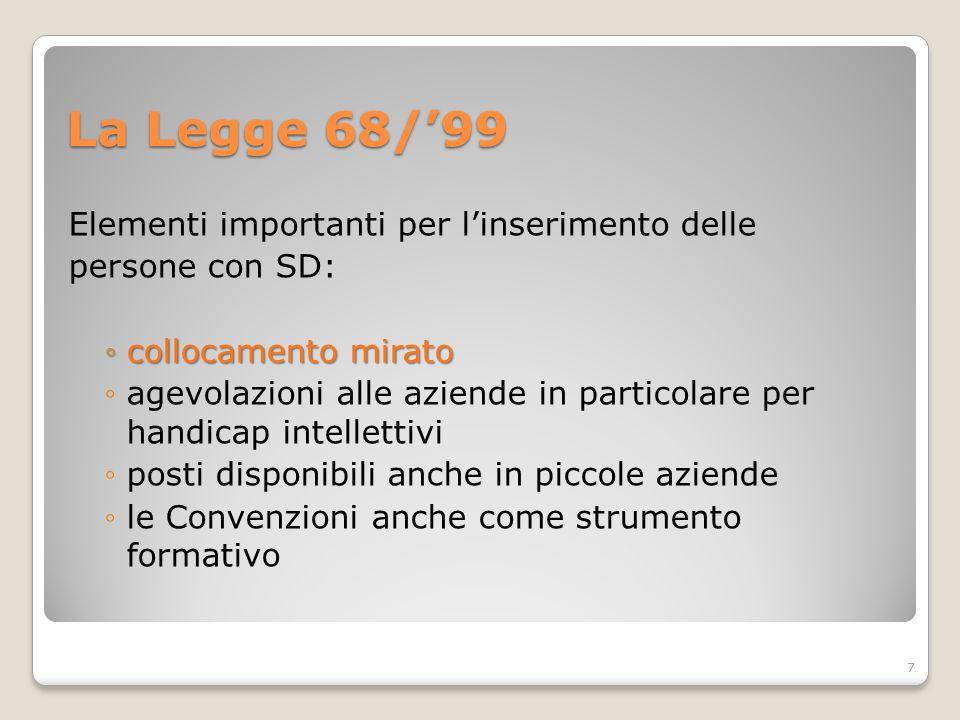 La Legge 68/'99 Elementi importanti per l'inserimento delle persone con SD: ◦collocamento mirato ◦agevolazioni alle aziende in particolare per handicap intellettivi ◦posti disponibili anche in piccole aziende ◦le Convenzioni anche come strumento formativo 7