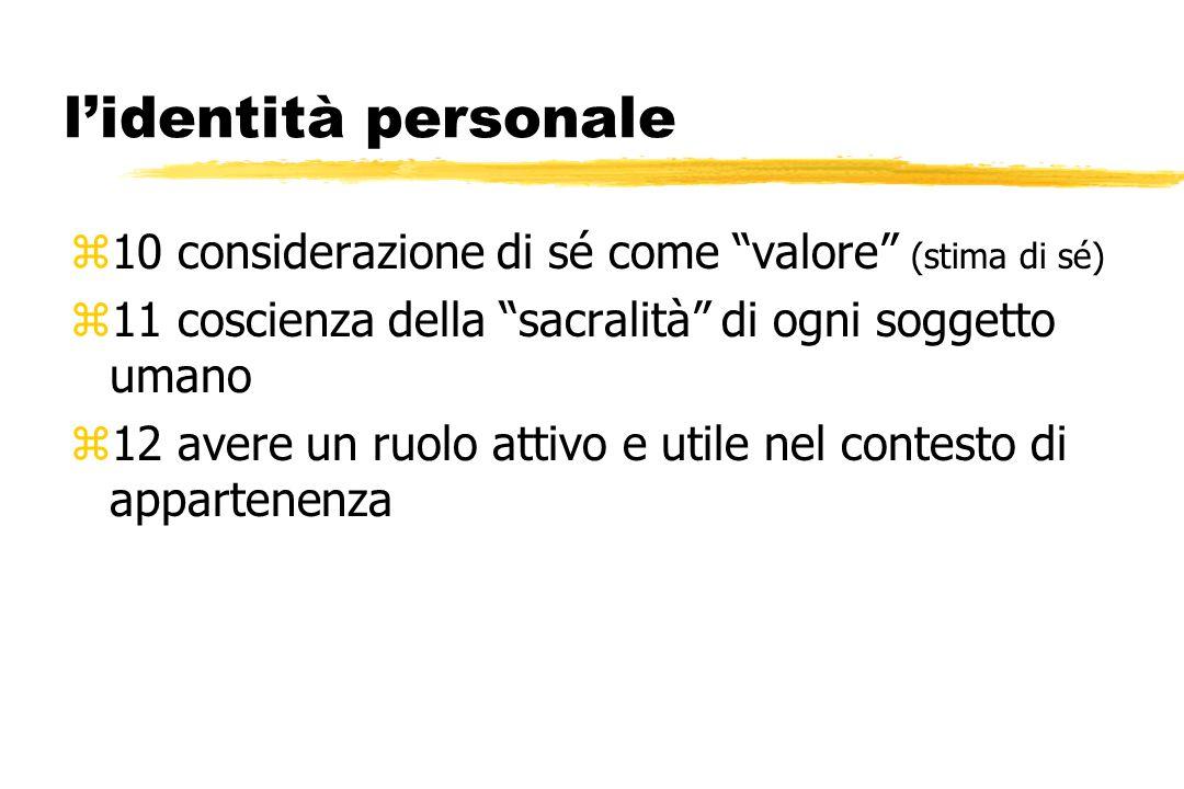 l'identità personale z10 considerazione di sé come valore (stima di sé) z11 coscienza della sacralità di ogni soggetto umano z12 avere un ruolo attivo e utile nel contesto di appartenenza