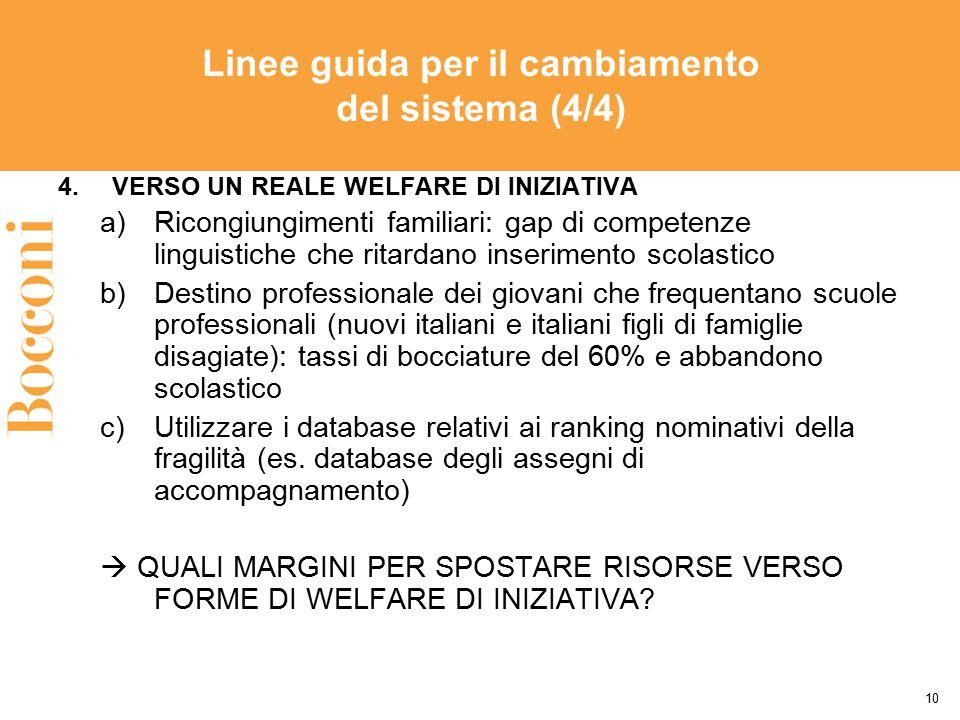Linee guida per il cambiamento del sistema (4/4) 4.VERSO UN REALE WELFARE DI INIZIATIVA a)Ricongiungimenti familiari: gap di competenze linguistiche c