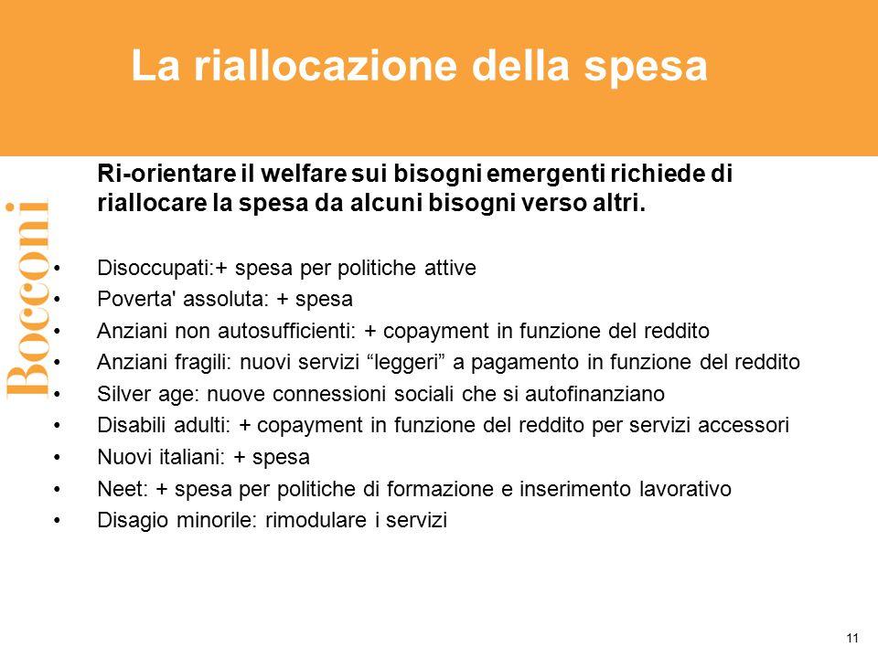 La riallocazione della spesa Ri-orientare il welfare sui bisogni emergenti richiede di riallocare la spesa da alcuni bisogni verso altri. Disoccupati: