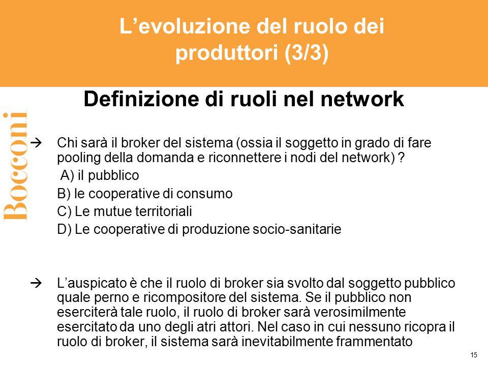 L'evoluzione del ruolo dei produttori (3/3) Definizione di ruoli nel network  Chi sarà il broker del sistema (ossia il soggetto in grado di fare pool