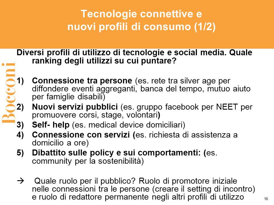 Tecnologie connettive e nuovi profili di consumo (1/2) Diversi profili di utilizzo di tecnologie e social media. Quale ranking degli utilizzi su cui p