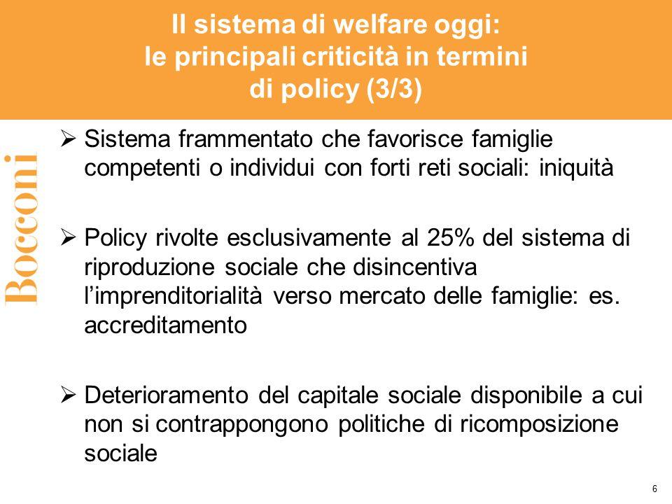 Il sistema di welfare oggi: le principali criticità in termini di policy (3/3)  Sistema frammentato che favorisce famiglie competenti o individui con