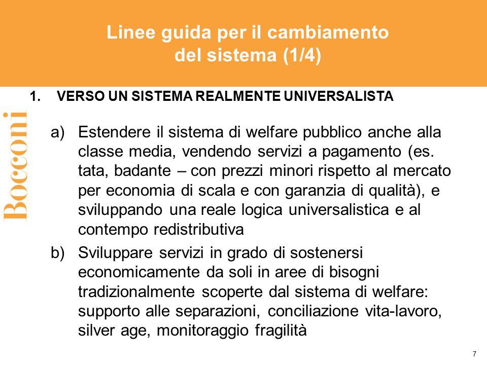 Linee guida per il cambiamento del sistema (1/4) 1.VERSO UN SISTEMA REALMENTE UNIVERSALISTA a)Estendere il sistema di welfare pubblico anche alla clas