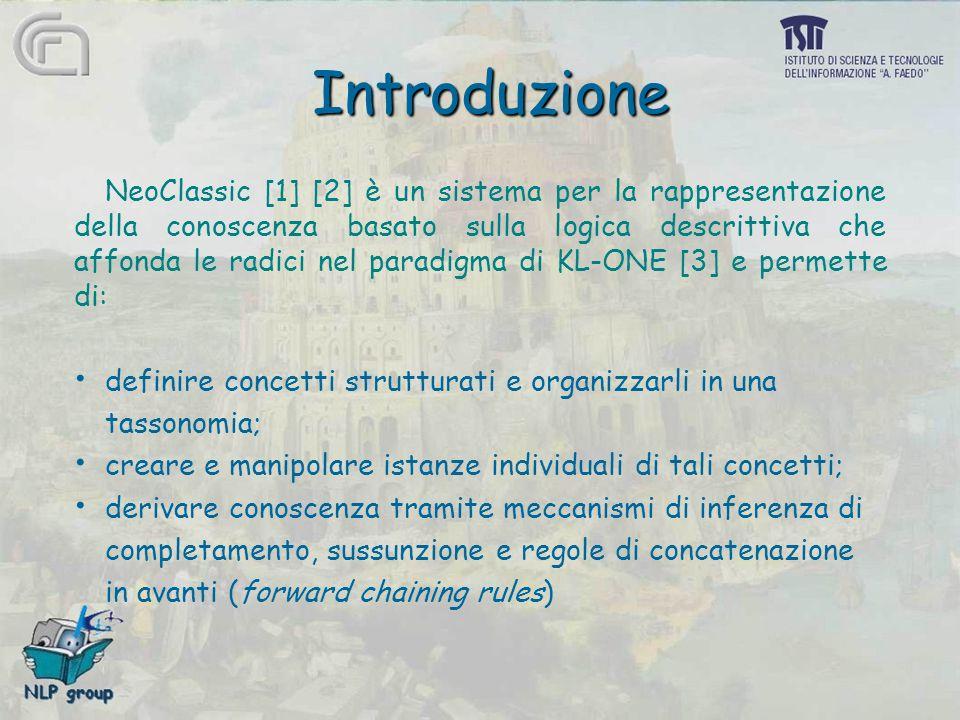 Introduzione NeoClassic [1] [2] è un sistema per la rappresentazione della conoscenza basato sulla logica descrittiva che affonda le radici nel paradi