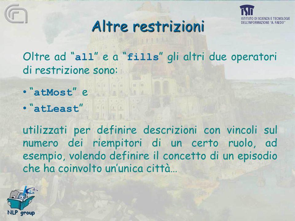 """Altre restrizioni Oltre ad """" all """" e a """" fills """" gli altri due operatori di restrizione sono: """" atMost """" e """" atLeast """" utilizzati per definire descriz"""