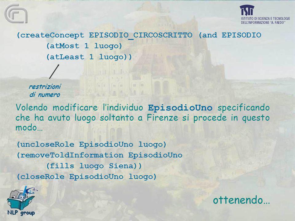 (createConcept EPISODIO_CIRCOSCRITTO (and EPISODIO (atMost 1 luogo) (atLeast 1 luogo)) Volendo modificare l'individuo EpisodioUno specificando che ha