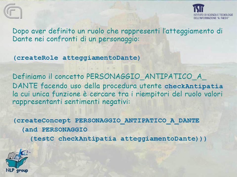 Dopo aver definito un ruolo che rappresenti l'atteggiamento di Dante nei confronti di un personaggio: (createRole atteggiamentoDante) Definiamo il concetto PERSONAGGIO_ANTIPATICO_A_ DANTE facendo uso della procedura utente checkAntipatia la cui unica funzione è cercare tra i riempitori del ruolo valori rappresentanti sentimenti negativi: (createConcept PERSONAGGIO_ANTIPATICO_A_DANTE (and PERSONAGGIO (testC checkAntipatia atteggiamentoDante)))