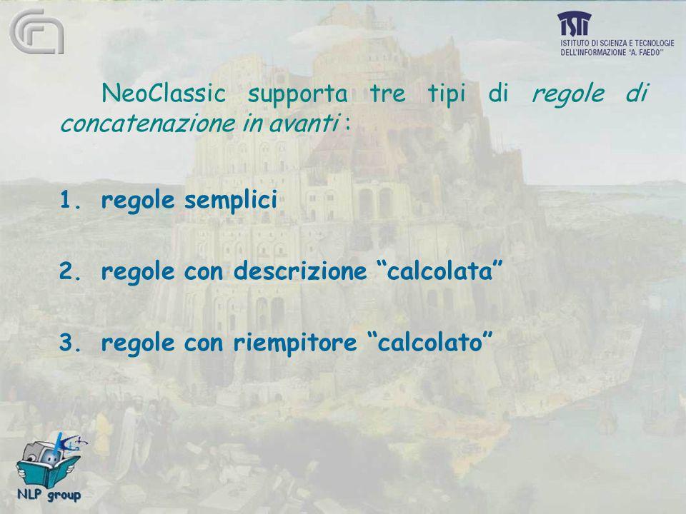 """NeoClassic supporta tre tipi di regole di concatenazione in avanti : 1. regole semplici 2. regole con descrizione """"calcolata"""" 3. regole con riempitore"""