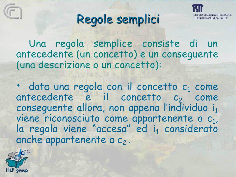 Regole semplici Una regola semplice consiste di un antecedente (un concetto) e un conseguente (una descrizione o un concetto): data una regola con il concetto c 1 come antecedente e il concetto c 2 come conseguente allora, non appena l'individuo i 1 viene riconosciuto come appartenente a c 1, la regola viene accesa ed i 1 considerato anche appartenente a c 2.