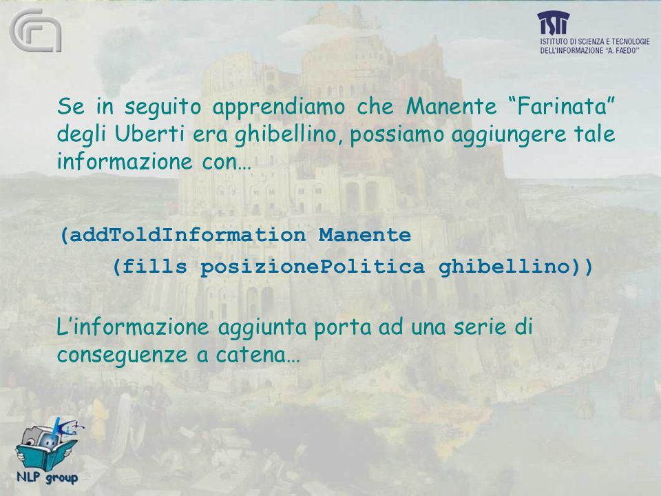 """Se in seguito apprendiamo che Manente """"Farinata"""" degli Uberti era ghibellino, possiamo aggiungere tale informazione con… (addToldInformation Manente ("""