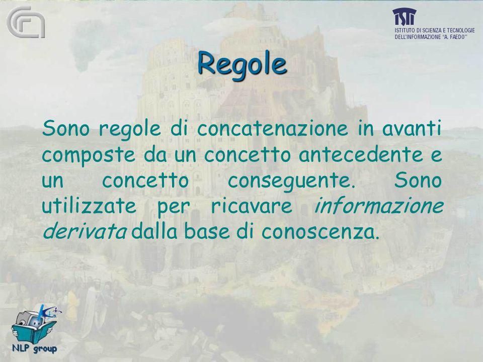 Regole Sono regole di concatenazione in avanti composte da un concetto antecedente e un concetto conseguente. Sono utilizzate per ricavare informazion