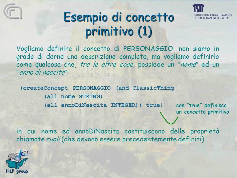 Esempio di concetto primitivo (1) Vogliamo definire il concetto di PERSONAGGIO: non siamo in grado di darne una descrizione completa, ma vogliamo defi