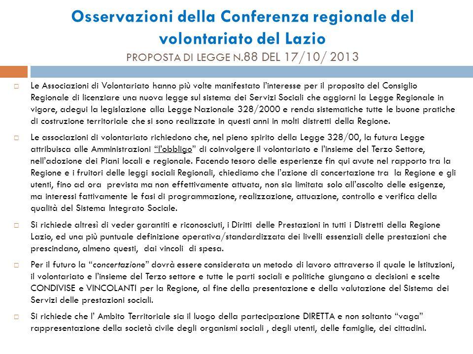 Osservazioni della Conferenza regionale del volontariato del Lazio PROPOSTA DI LEGGE N.