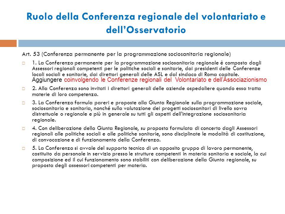 Ruolo della Conferenza regionale del volontariato e dell'Osservatorio Art.