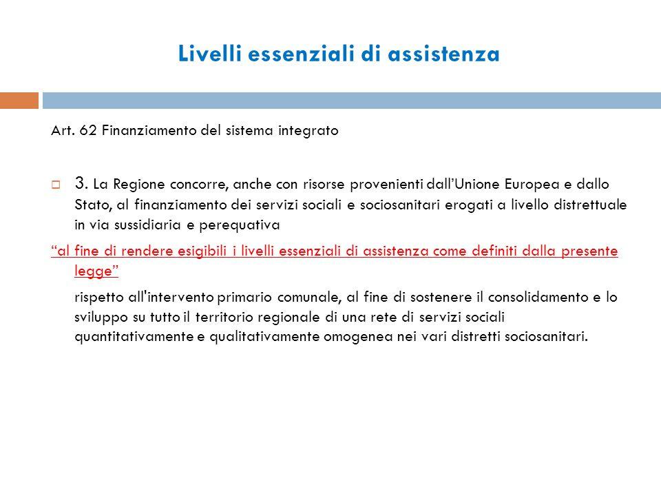 Livelli essenziali di assistenza Art. 62 Finanziamento del sistema integrato  3.