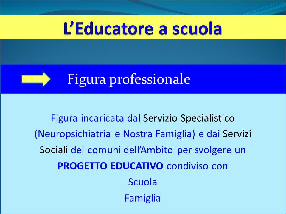 Figura incaricata dal Servizio Specialistico (Neuropsichiatria e Nostra Famiglia) e dai Servizi Sociali dei comuni dell'Ambito per svolgere un PROGETTO EDUCATIVO condiviso con Scuola Famiglia Figura professionale