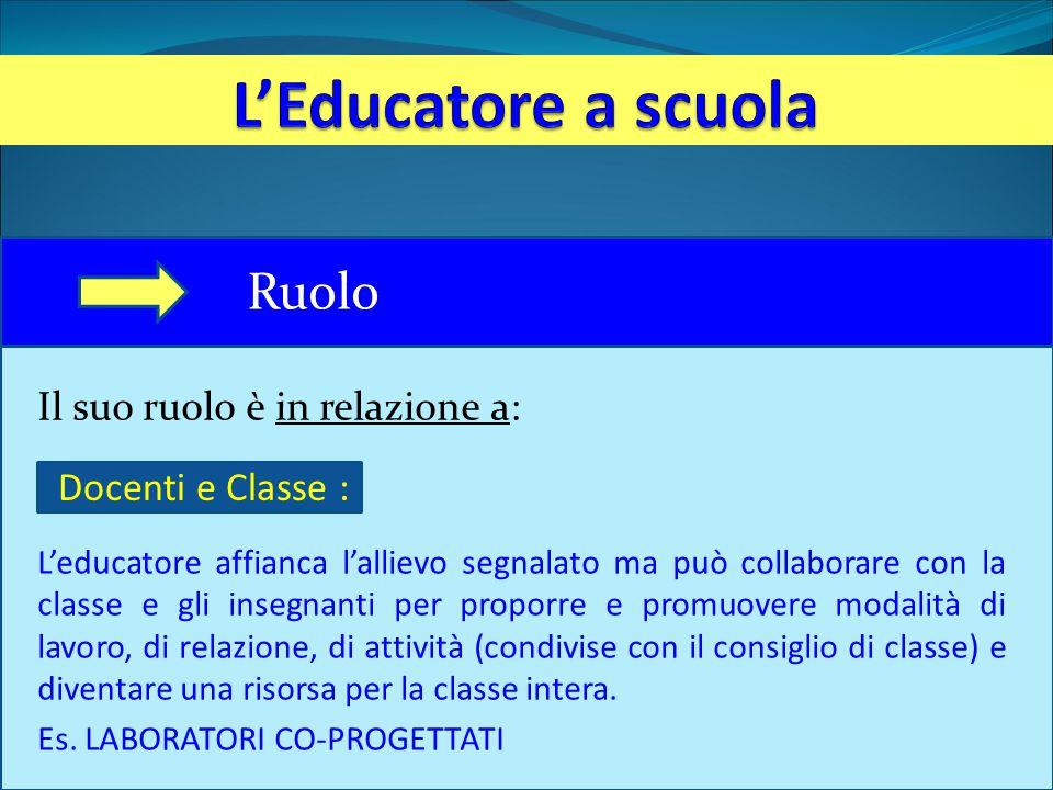 Il suo ruolo è in relazione a: L'educatore affianca l'allievo segnalato ma può collaborare con la classe e gli insegnanti per proporre e promuovere mo