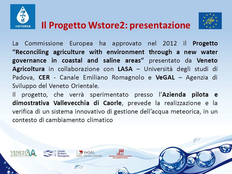 """Il Progetto Wstore2: presentazione La Commissione Europea ha approvato nel 2012 il Progetto """"Reconciling agriculture with environment through a new wa"""