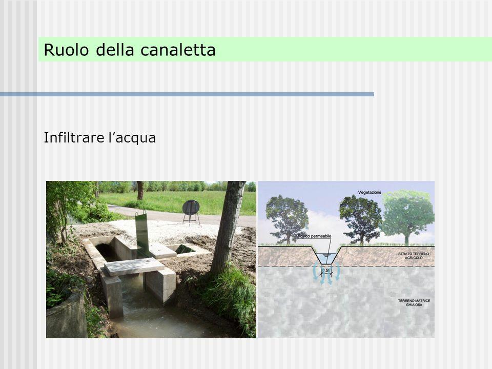 Ruolo della canaletta Infiltrare l'acqua