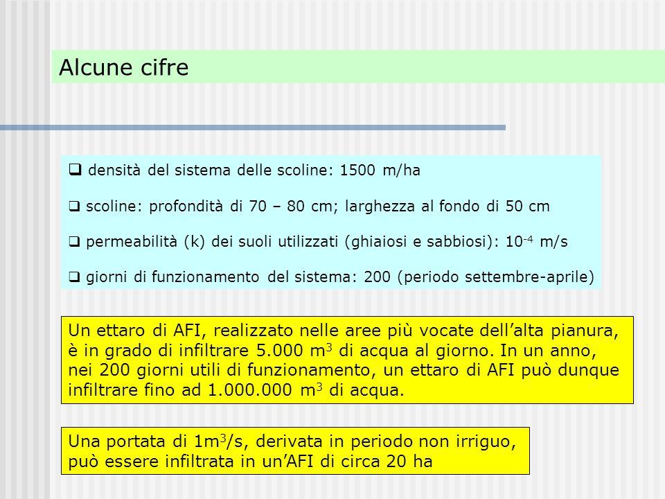  densità del sistema delle scoline: 1500 m/ha  scoline: profondità di 70 – 80 cm; larghezza al fondo di 50 cm  permeabilità (k) dei suoli utilizzat