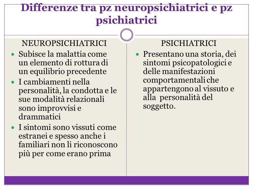 Differenze tra pz neuropsichiatrici e pz psichiatrici NEUROPSICHIATRICI Subisce la malattia come un elemento di rottura di un equilibrio precedente I